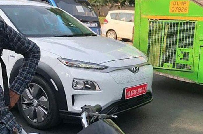 hyundai kona electric india testing front