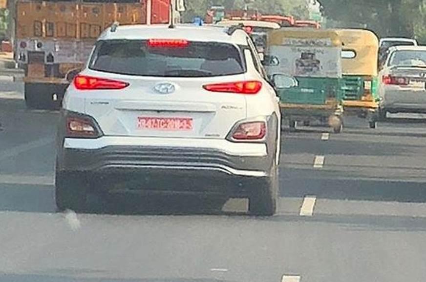 hyundai kona electric india testing rear