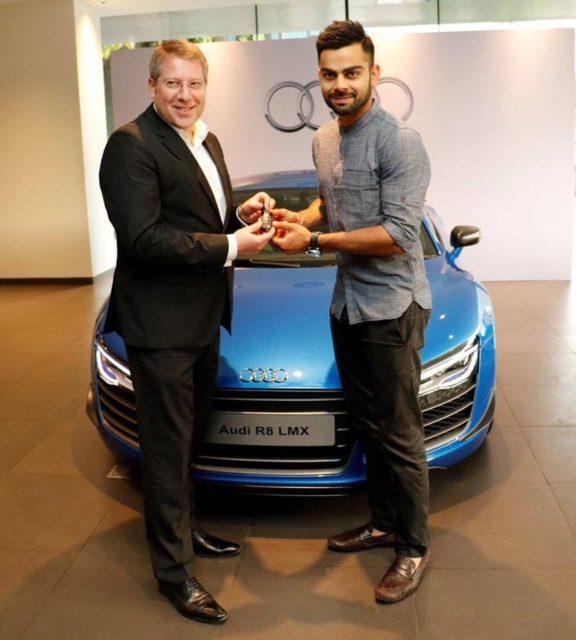virat kohli taking Audi R8 LMX delivery