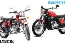 Jawa Forty Two Vs Royal Enfield Classic 350 front