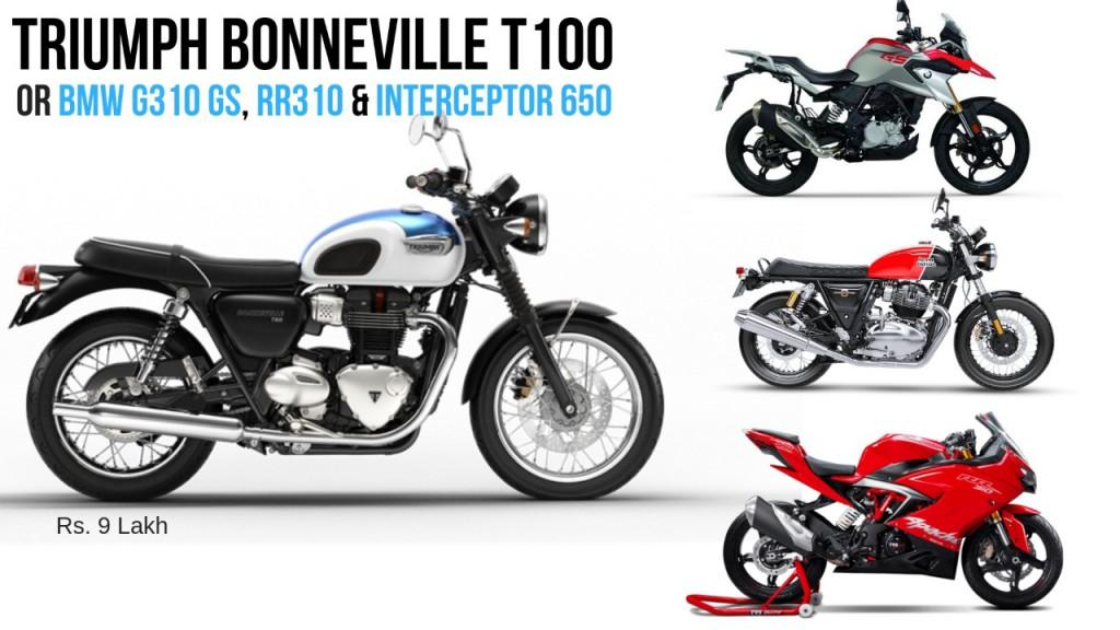 Triumph-Bonneville-T100-G310GS-Interceptor650-Apache-RR310 (premium bikes for triumph bonneville t100 price)