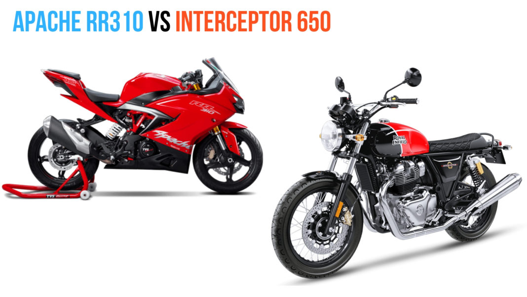TVS Apache RR 310 Vs Royal Enfield Interceptor 650