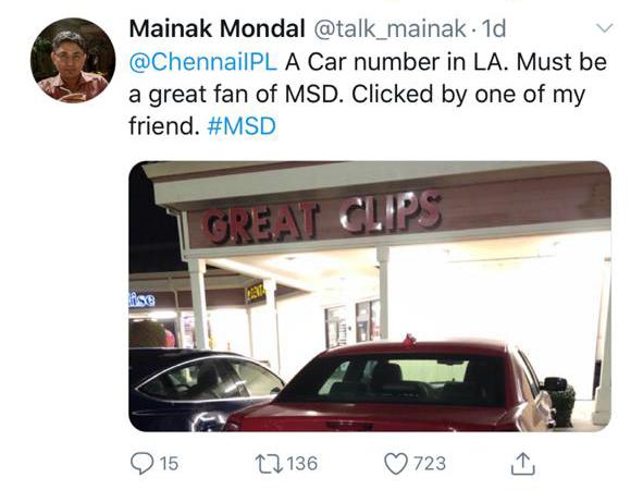 ms dhoni number tweet