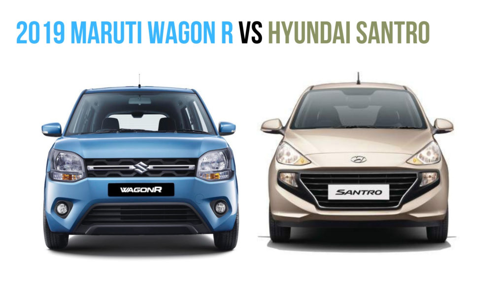2019 Maruti Wagon R vs hyundai santro front