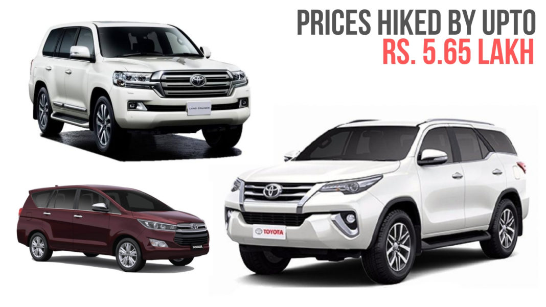 Toyota Hikes Car Prices By Upto Rs. 5.65 Lakh In India
