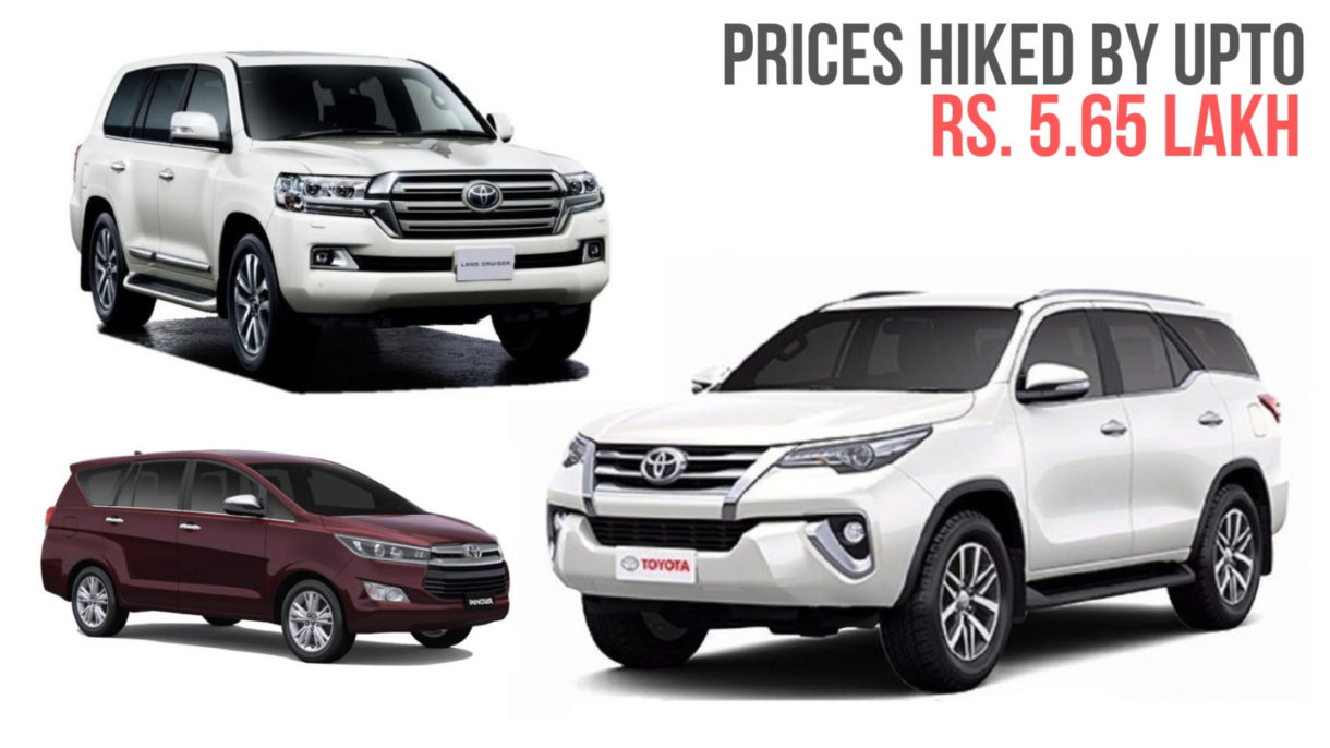 Toyota Announces 2019 Prices In India Hiked By Upto Rs 5 65 Lakh