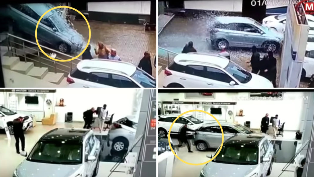 Customer Accidentally Shatters Display Car Through Glass Window In Hyundai Showroom