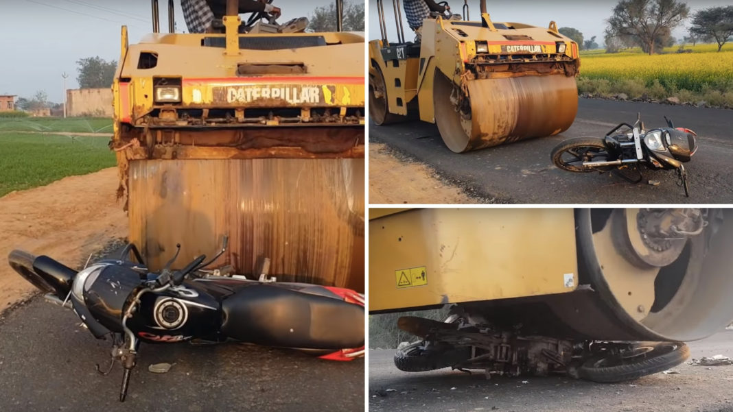 Hero CBZ Xtreme Gets Rolled Down By A Gigantic Road Roller - Video