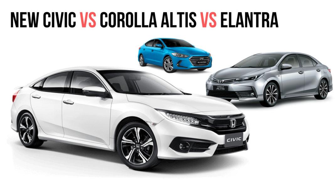 New Honda Civic vs Toyota Corolla Altis vs Hyundai Elantra