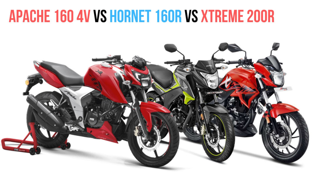 TVS Apache RTR 160 Vs Honda Hornet 160R VS Hero XTreme 200R