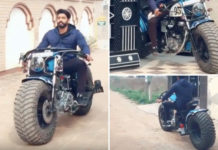 royal enfield with tractor tyres