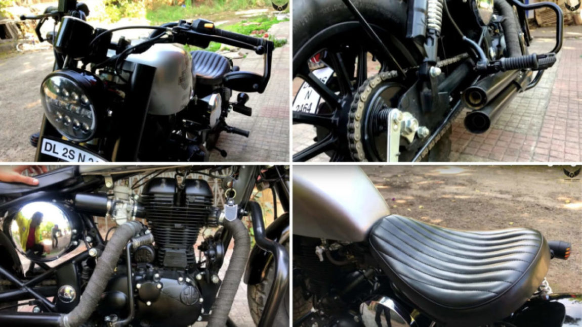 royal enfield cruiser converted into a classic bobber looks muscular. Black Bedroom Furniture Sets. Home Design Ideas