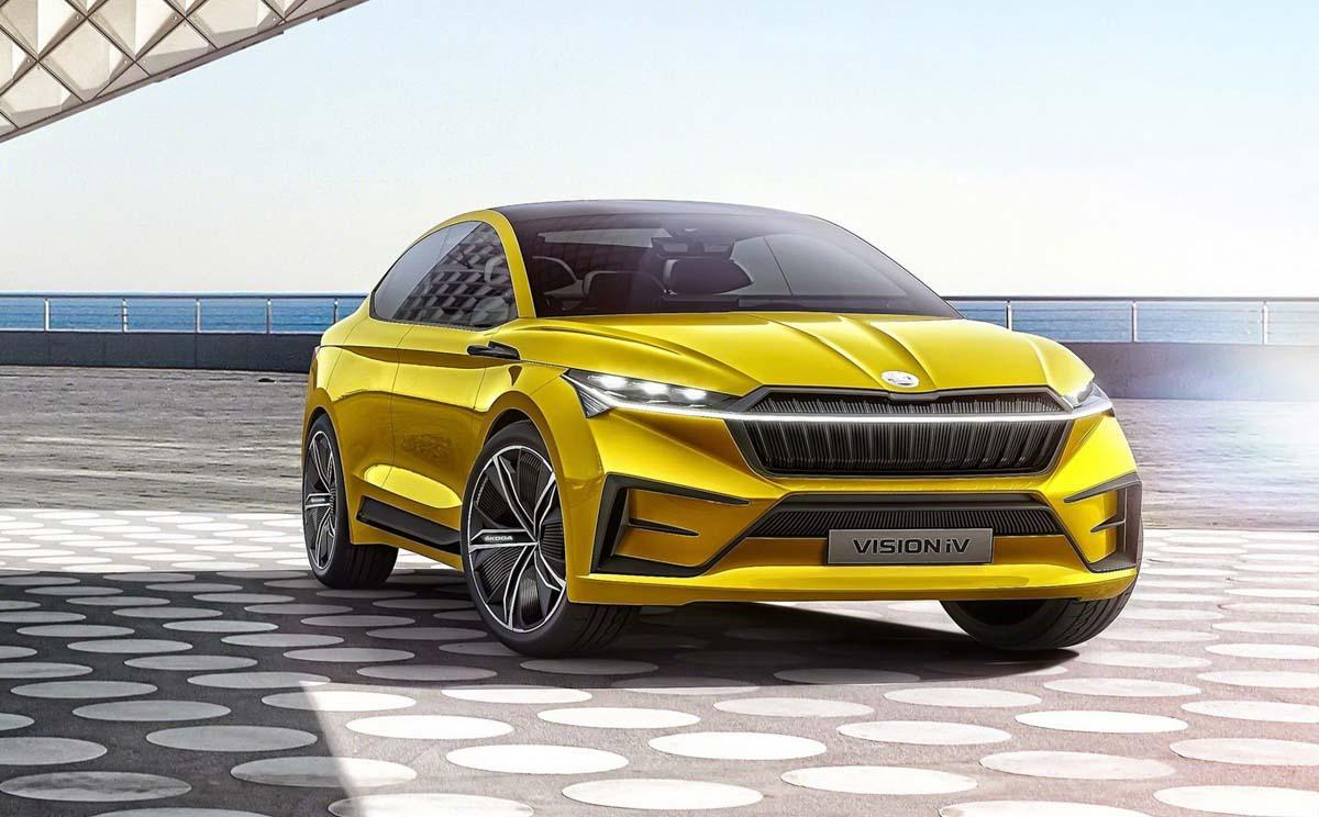 stylish skoda vision iv crossover coupe concept   km range unveiled