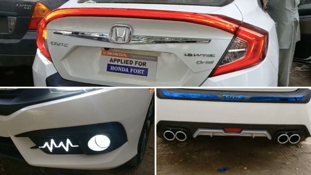 Customised Honda Civic With LED Boot Spoiler