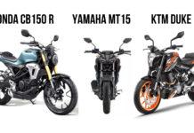 Honda CB150R Streetster Vs Yamaha MT-15 Vs KTM Duke 125 – Comparison