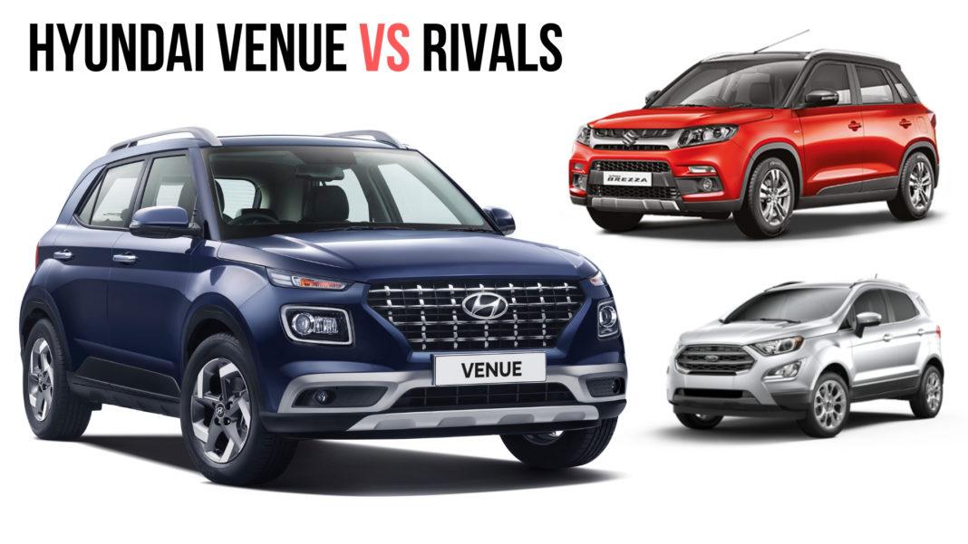 Hyundai Venue Vs Maruti Vitara Brezza Vs Ford EcoSport Specification Comparison