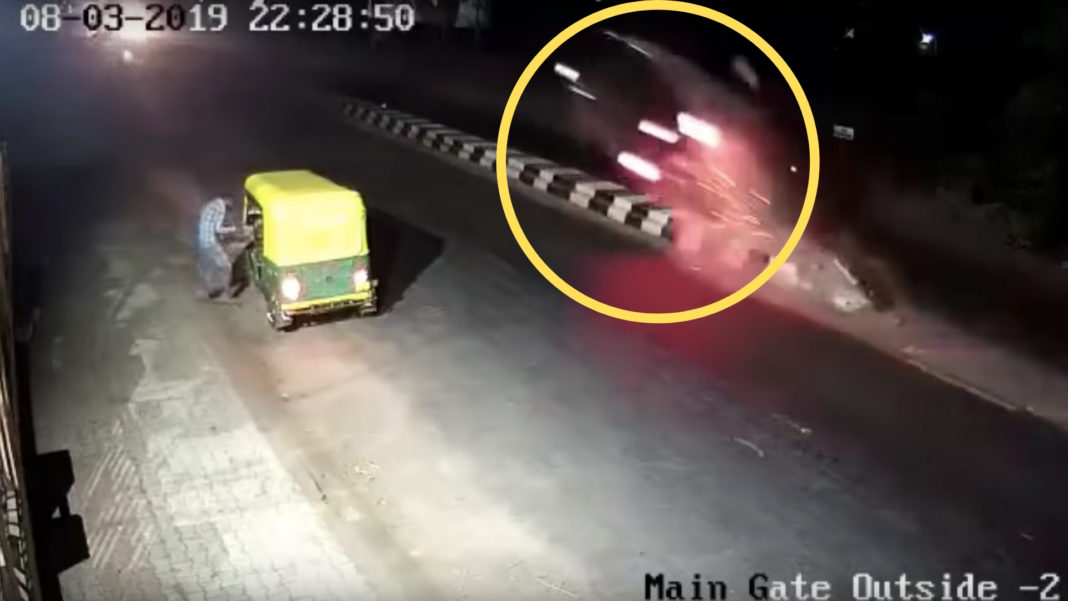 Unmarked Divider Causes Horrifying Accident, Caught On CCTV