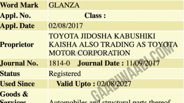 toyota glanza (toyota rebadged baleno) patented