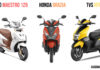 Hero Maestro Edge 125 vs TVS Ntroq vs Honda Grazia Spec Comparo
