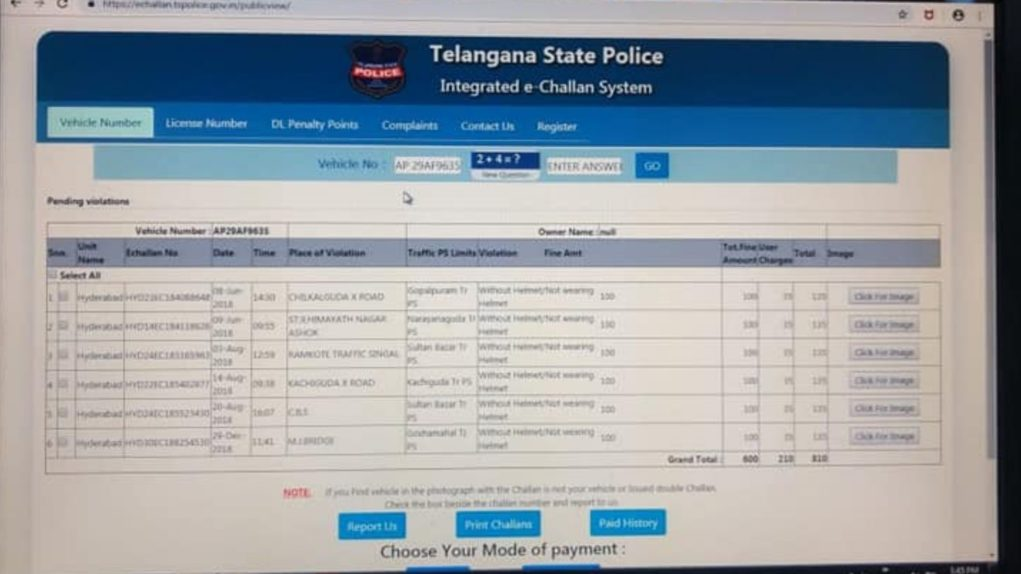 Owner Of A Stolen Yamaha FZ16 Gets Challan With Pictures 3