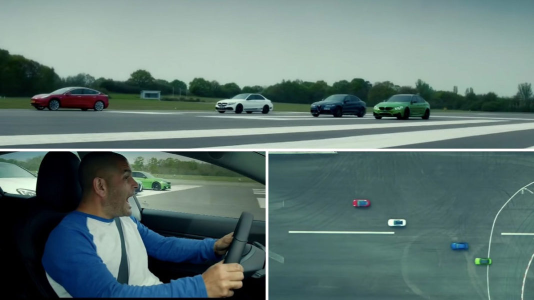 Tesla Model 3 vs Mercedes-AMG C63 S vs BMW M3 vs Alfa Romeo Giulia Quadrifoglio