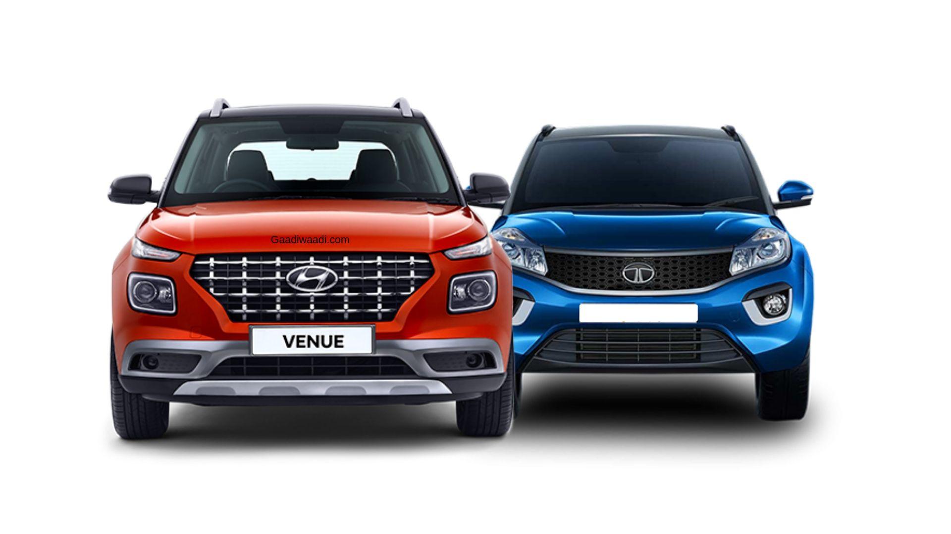 Hyundai Venue Vs Tata Nexon Dimensions And Engine Comparison