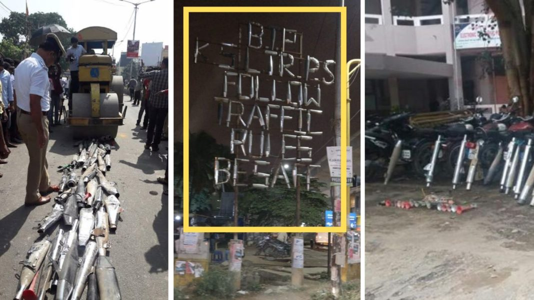Bangalore Traffic Police Made Billboard With Seized Illegal Exhausts