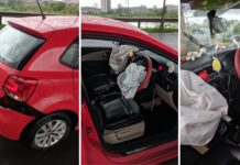 Volkswagen Polo Airbags Deploy After Car Hits Pothole
