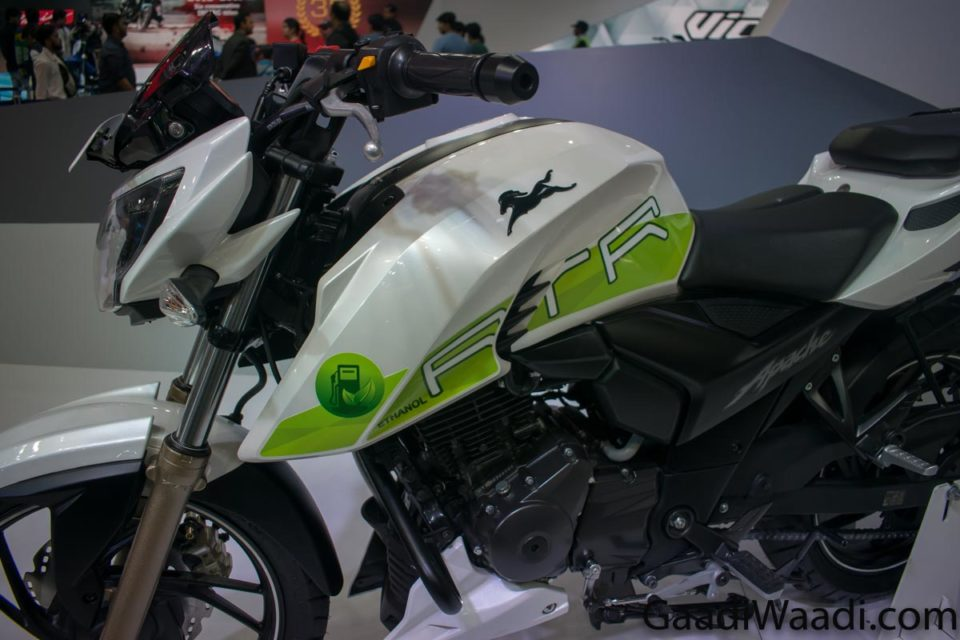 tvs apache rtr 200 fi e100 ethanol launched in india