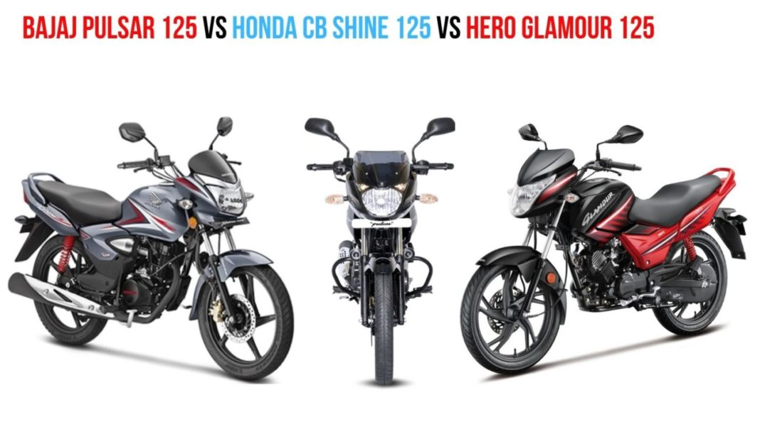 Bajaj Pulsar 125 vs Honda CB Shine 125 vs Hero Glamour 125