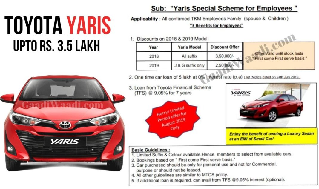 Rs 3.5 Lakh Discount & 0% Finance On Toyota Yaris