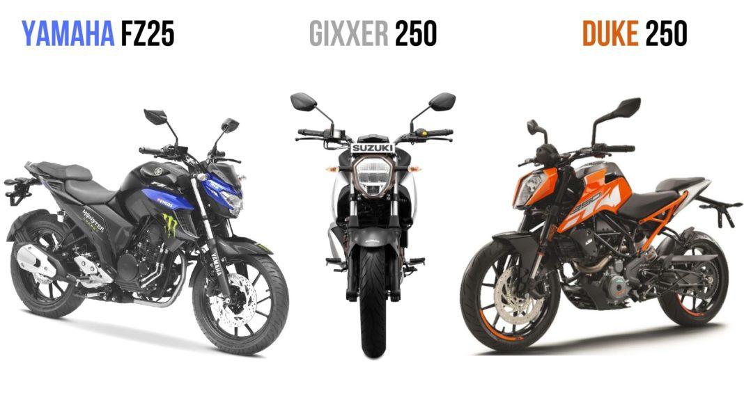 Suzuki Gixxer 250 VS Yamaha FZ25 VS KTM Duke 250