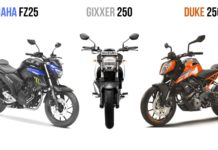 Suzuki Gixxer 250 VS Yamaha FZ25 VS KTM Duke 250