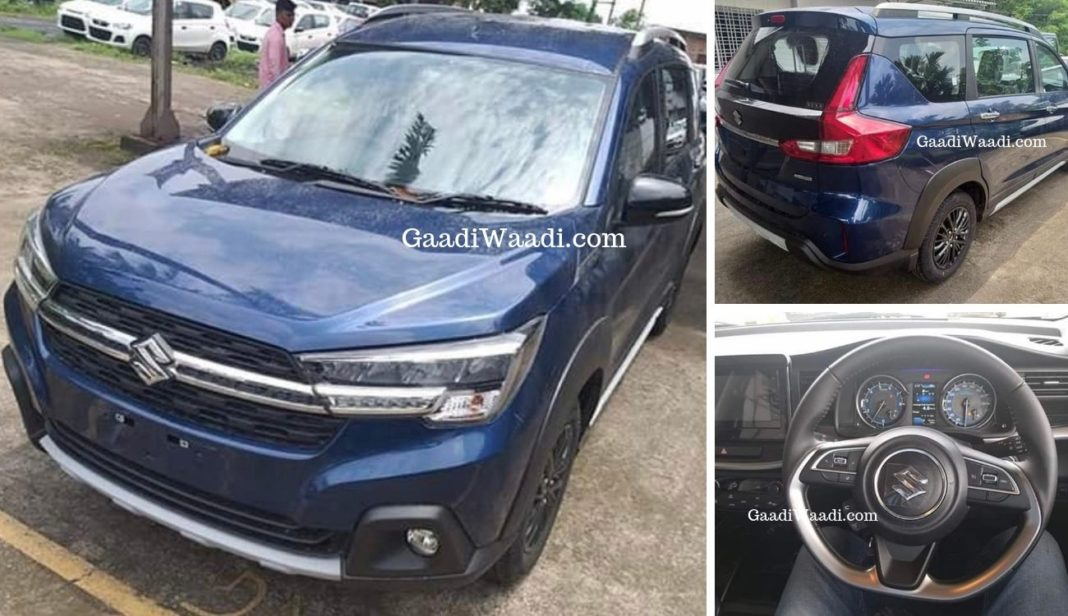 maruti xl6 spotted at dealership revealing all exterior and interior