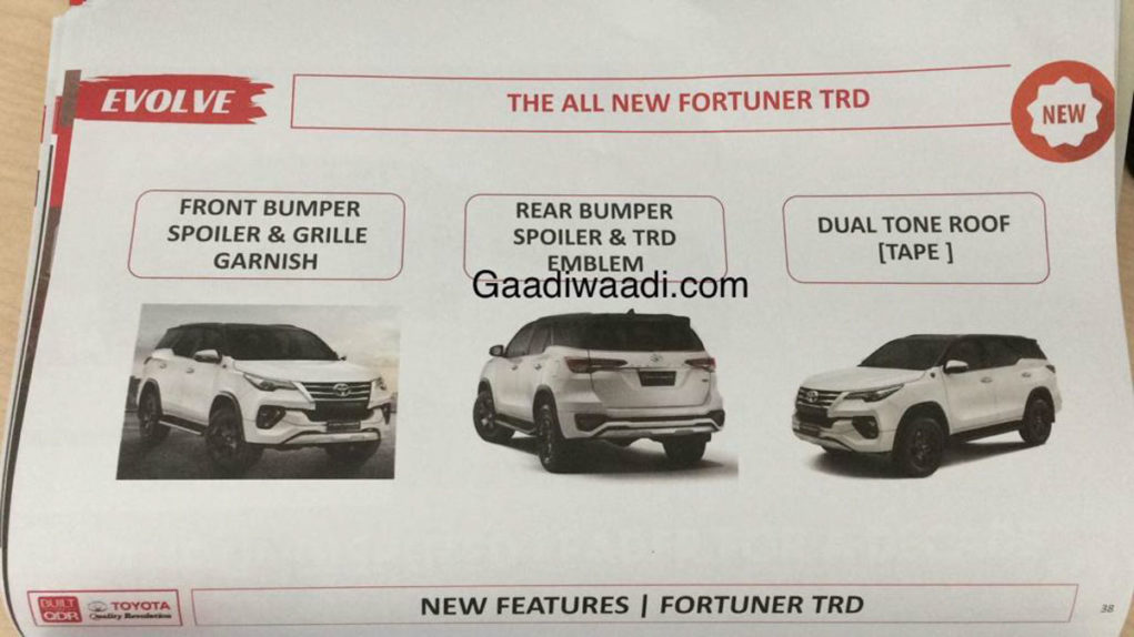 2019 Toyota Fortuner Sportivo Details leaked