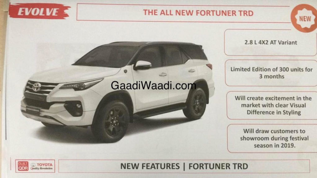 2019 Toyota Fortuner Sportivo Details leaked 2