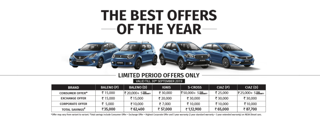 maruti nexa september 2019 discount
