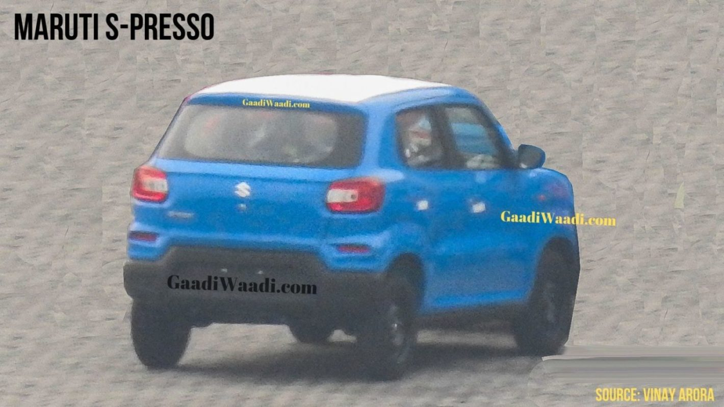 Upcoming Maruti Suzuki S-Presso Rear Spied Undisguised In Blue Colour - GaadiWaadi.com thumbnail