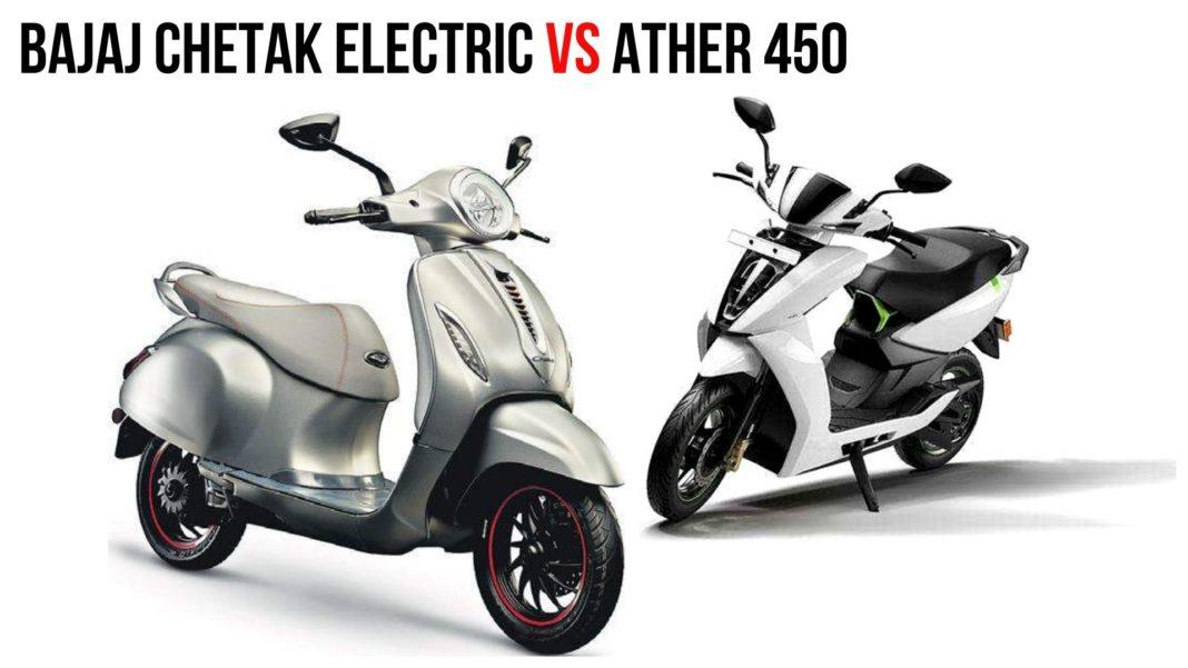 Ather 450 VS Bajaj Chetak Electric - Specs Comparison