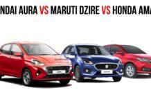 Hyundai Aura Vs Maruti Dzire Vs Honda Amaze