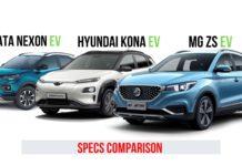 MG ZS EV vs Hyundai Kona Electric vs Tata Nexon EV Specs Comparison