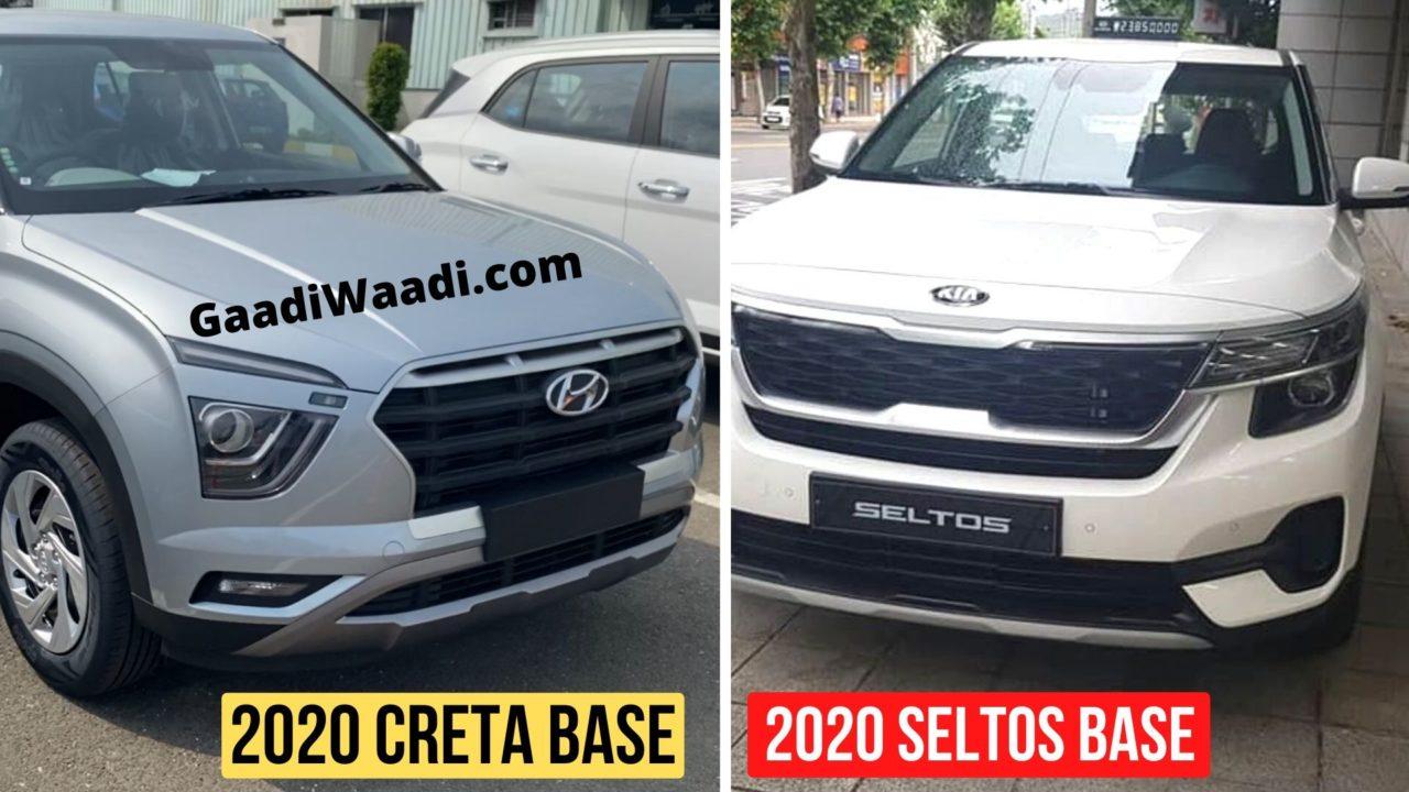 2020 Hyundai Creta E Vs Kia Seltos Hte Base Trim Features Comparison