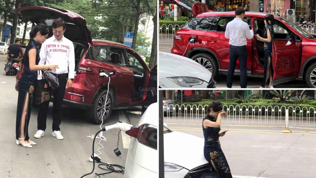 BYD Song Electric Vehicle Spotted Charging Tesla Model S-1