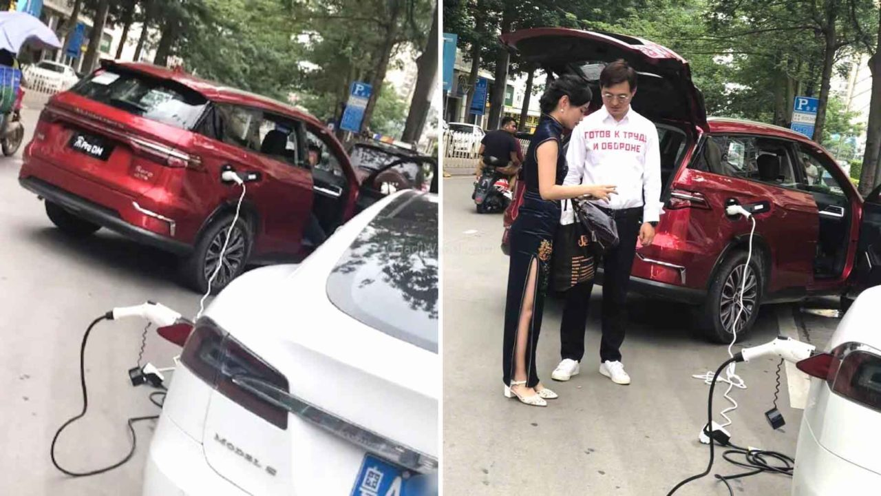 BYD Song Electric Vehicle Spotted Charging Tesla Model S-2-2