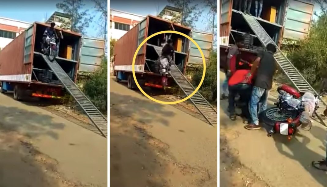 Royal Enfield Falls Off A Trailer