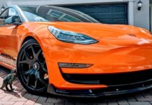 Tesla Model 3 Orange Wrapped-1