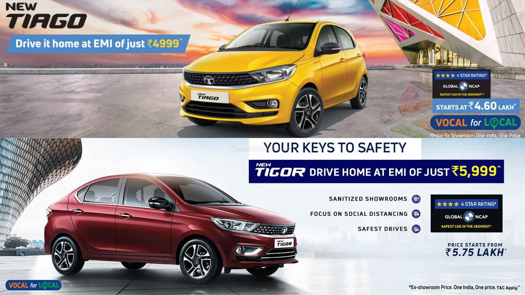 Tata Tiago Offered With Rs. 4,999 EMI, Tigor With Rs. 5,999 EMI – Details