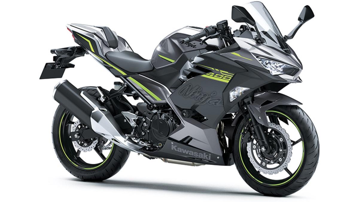 2021 Kawasaki Ninja 400 Grey front three quarter