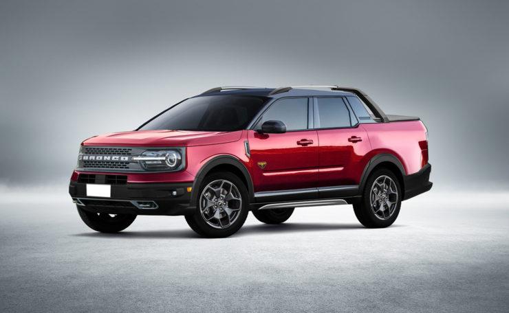 Ford Bronco Sport Pickup truck render empty background
