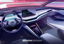 Skoda's First Electric SUV 'Enyaq iV' Interior Sketch